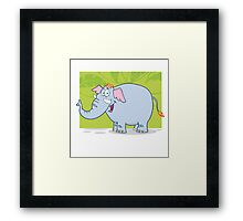 Cute funny cartoon elephant Framed Print