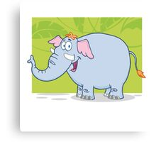 Cute funny cartoon elephant Canvas Print