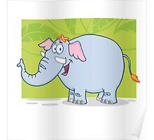 Cute funny cartoon elephant Poster