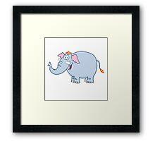 Funny cartoon elephant character Framed Print