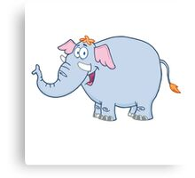 Funny cartoon elephant character Canvas Print