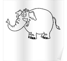 Black and white cartoon elephant Poster