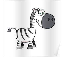Outline of cute cartoon zebra Poster