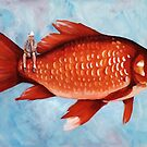 The Fisherman surreal whimsical painting by ria hills