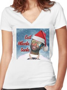 Gucci Mane East Atlanta Santa With Snow Background- Christmas Women's Fitted V-Neck T-Shirt