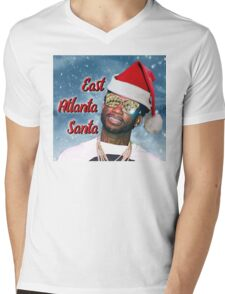 Gucci Mane East Atlanta Santa With Snow Background- Christmas Mens V-Neck T-Shirt