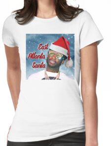 Gucci Mane East Atlanta Santa With Snow Background- Christmas Womens Fitted T-Shirt