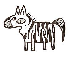 Cute striped cartoon zebra by berlinrob