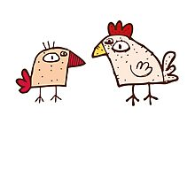 Funny cartoon chicken Photographic Print