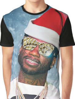 Gucci Mane Santa Snow Background- Christmas Graphic T-Shirt
