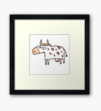 Cute cartoon cow Framed Print