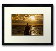 Golden sunset at Crosby Beach Framed Print