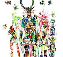 THREE HORNED DEMON WITH TEA TRAY,TWO GIRLS,NINE  by lautir