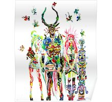 THREE HORNED DEMON WITH TEA TRAY,TWO GIRLS,NINE  Poster