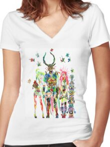 THREE HORNED DEMON WITH TEA TRAY,TWO GIRLS,NINE  Women's Fitted V-Neck T-Shirt