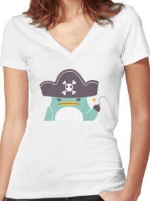 Grumpy cartoon pirate penguin Women's Fitted V-Neck T-Shirt
