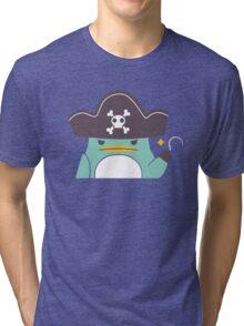 Grumpy cartoon pirate penguin Tri-blend T-Shirt