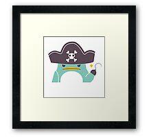 Grumpy cartoon pirate penguin Framed Print