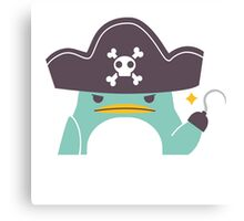 Grumpy cartoon pirate penguin Canvas Print