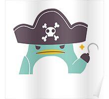 Grumpy cartoon pirate penguin Poster