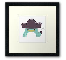 Happy funny cartoon penguin pirate Framed Print