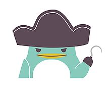 Happy funny cartoon penguin pirate Photographic Print