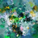 Green and Yellow Abstract Art by Deniz Akerman