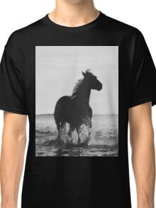 B&W Horse Running in Water Classic T-Shirt