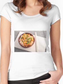 Asian dish of rice noodles in a small brown wooden bowl Women's Fitted Scoop T-Shirt