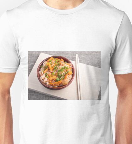 Asian dish of rice noodles in a small brown wooden bowl Unisex T-Shirt
