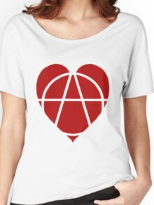 Red Anarchist Heart Women's Relaxed Fit T-Shirt
