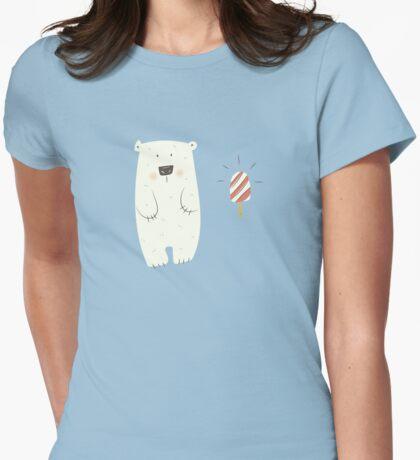 Polar bear loves popsicle Womens Fitted T-Shirt