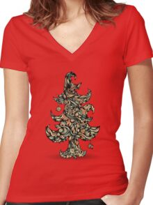 Christmas tree made of hair. Beautiful greeting card. Women's Fitted V-Neck T-Shirt
