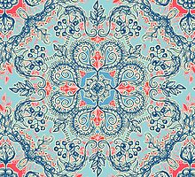 Gypsy Floral in Red & Blue by micklyn