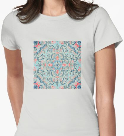 Gypsy Floral in Red & Blue Womens Fitted T-Shirt