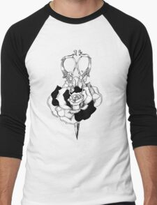 Rose and Scissors  Men's Baseball ¾ T-Shirt