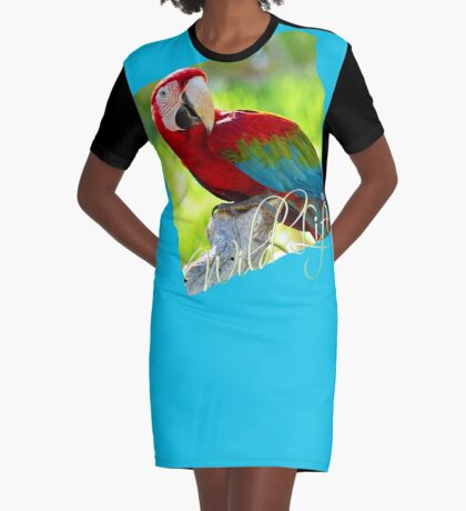 Wild Life Series - Red Macaw Parrot Graphic T-Shirt Dress