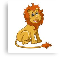 Cute funny cartoon lion sitting Canvas Print
