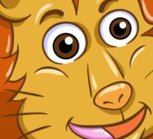 Head of smiling cartoon lion Sticker