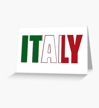 Italy Font with Italian Flag Greeting Card