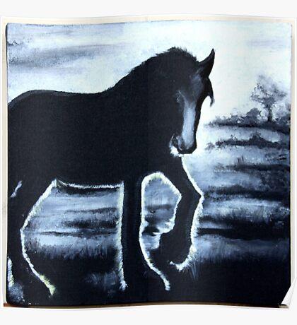 pferd nebel gegenlicht schwarz weiß haflinger acryl malerei Poster