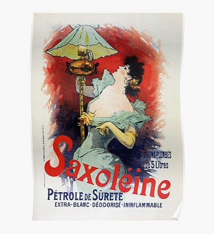 Vintage French safety kerosene lamp oil ad Jules Chéret Poster