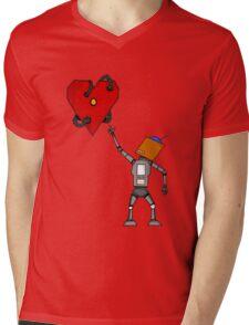 Heart Bot Mens V-Neck T-Shirt