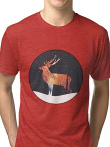 Christmas Reindeer In Snowy Forest Tri-blend T-Shirt