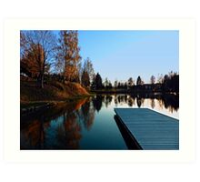 Romantic evening at the lake VI | waterscape photography Art Print