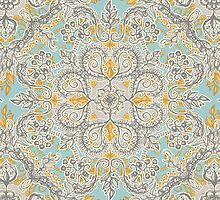Gypsy Floral in Soft Neutrals, Grey & Yellow on Sage by micklyn