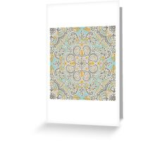 Gypsy Floral in Soft Neutrals, Grey & Yellow on Sage Greeting Card