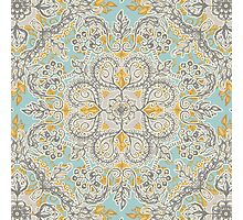 Gypsy Floral in Soft Neutrals, Grey & Yellow on Sage Photographic Print