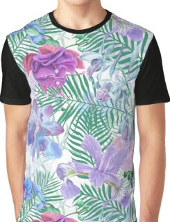 Soft Tropical Flower Pattern Graphic T-Shirt