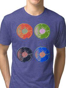 4 Pop Art Vinyl Records Tri-blend T-Shirt